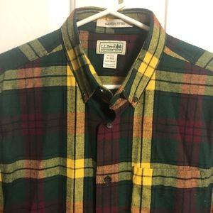 LL Bean Plaid Flannel Button Shirt Medium
